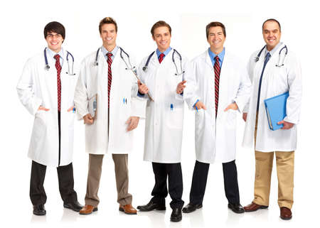 Smiling medical people with stethoscopes. Isolated over white background Stock Photo - 4080327