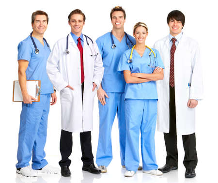 Smiling medical people with stethoscopes. Isolated over white background Stock Photo - 4080320
