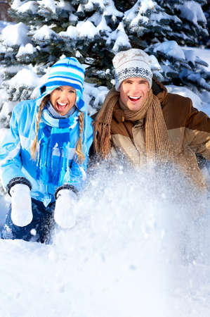 Young  happy smiling couple in love. Winter Stock Photo - 4108859