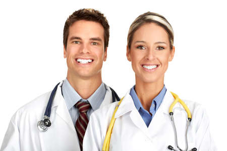 Smiling medical people with stethoscopes. Isolated over white background Stock Photo - 4108609