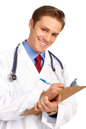 Smiling medical doctor with stethoscope. Isolated over white background  photo