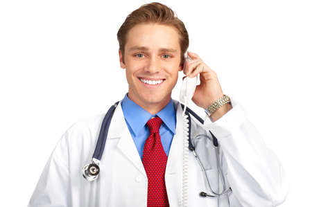 Smiling medical doctor calling by phone. Over white background Stock Photo - 4108599