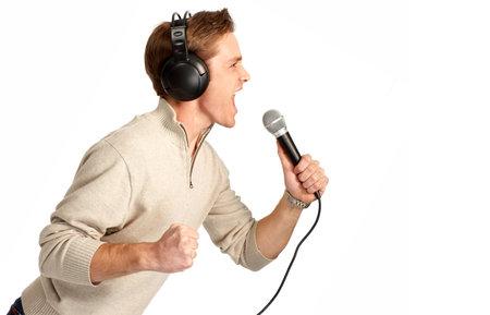 Happy karaoke signer. Isolated over white background  photo