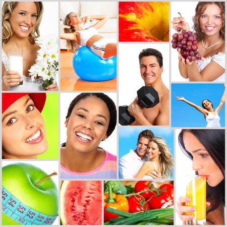 pareja saludable: Estilo de vida saludable. Personas, la dieta, la nutrici�n saludable, frutas, gimnasio Foto de archivo
