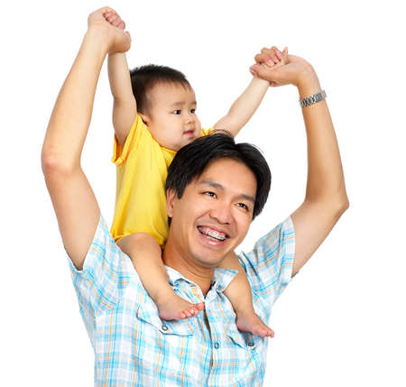 Happy proud father and smiling  innocent baby. Isolated over white background  photo