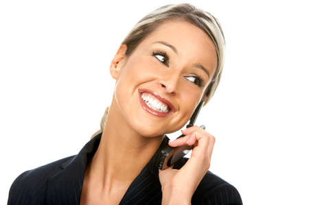 Young smiling woman calling by  phone. Over white background  photo