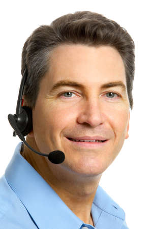handsfree phones: Smiling  businessman  with headset. Over white background