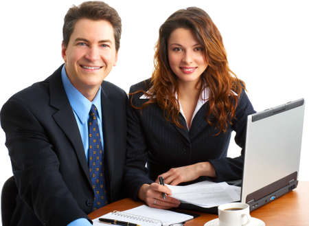 business people working with laptop. Over white background Stock Photo - 4108654