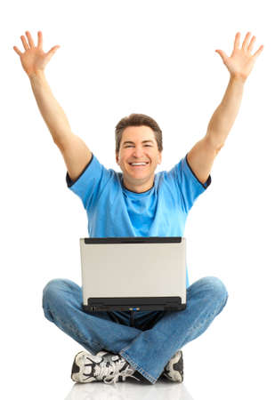 Funny happy man with laptop. Isolated over white background