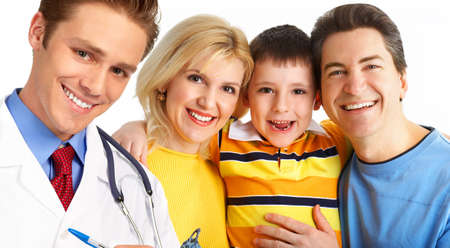 pediatrics: Smiling family medical doctor and young family. Over white background