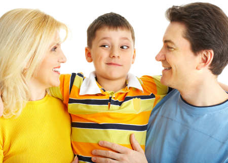 Happy family. Father, mother and boy. Over white background Stock Photo - 4108843