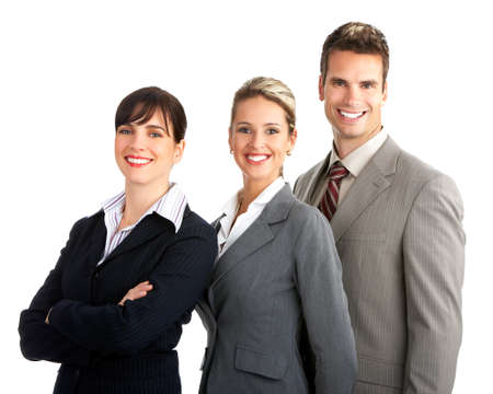 Young smiling  business people. Isolated over white background   photo