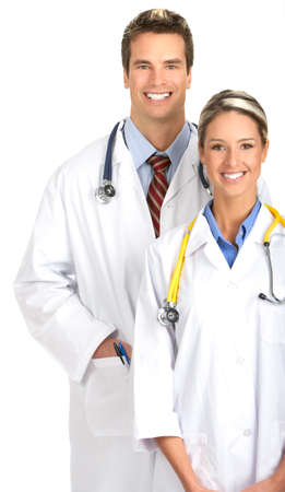 Smiling medical people with stethoscopes. Isolated over white background  Stock Photo
