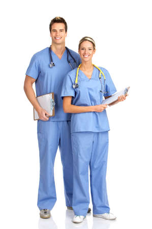 Smiling medical people with stethoscopes. Isolated over white background  photo