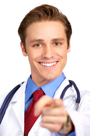 Smiling medical doctor with stethoscope. Isolated over white background Stock Photo - 4108624