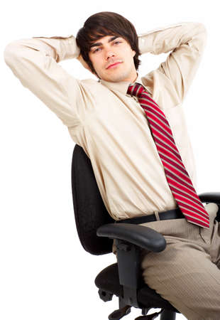 Business relax of the businessman. Isolated over white background Stock Photo - 4108849