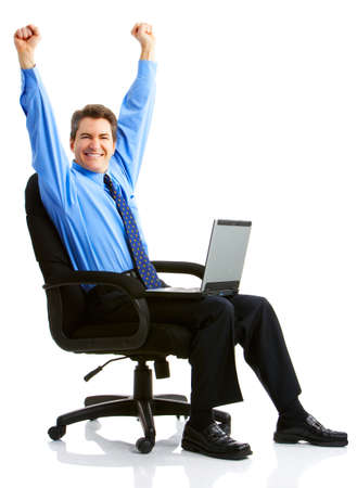 Businessman  working with laptop. Over white background  photo