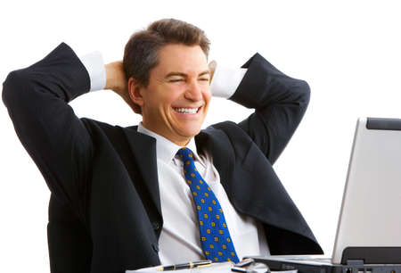 Businessman  working with laptop. Over white background Stock Photo - 4108731