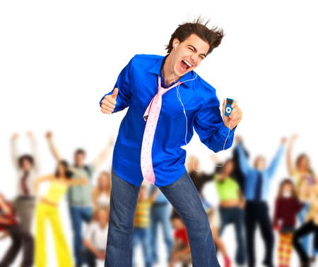 euphoria: Happy young man with mp3-player. Over white background