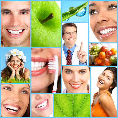 home health care: People, health, diet, healthy nutrition, food,  fruits,  dental care, teeth, dentist, medical doctor