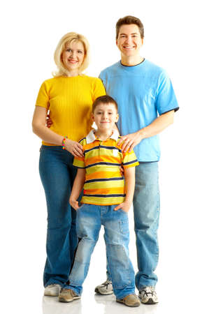 Happy family. Father, mother and boy. Over white background Stock Photo - 4137108