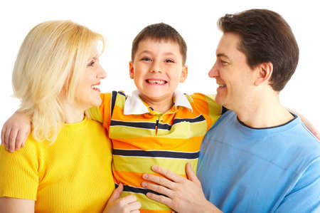 Happy family. Father, mother and boy. Over white background Stock Photo - 4137159