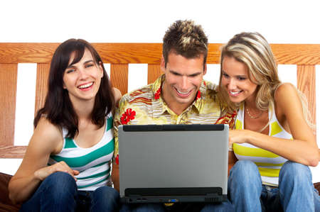 conversating: Young happy people with a laptop. Isolated ver white background    Stock Photo