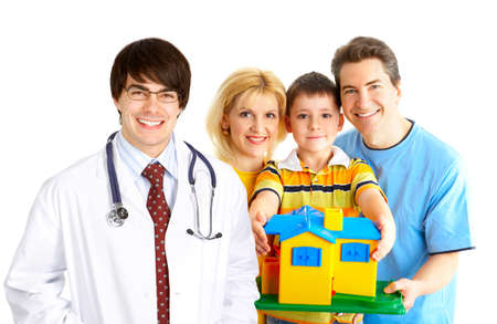 Smiling family medical doctor and young family. Over white background  photo