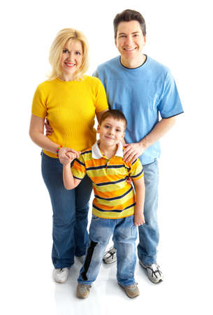 Happy family. Father, mother and boy. Over white background Stock Photo - 4137138