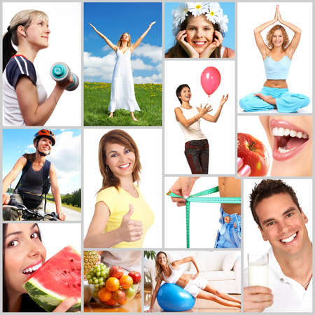 Healthy lifestyle. People, diet, healthy nutrition, fruits,  fitness Stock Photo - 4159832