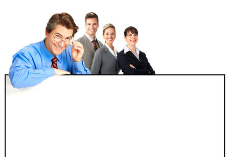 Group of young smiling business people. Over white background Stock Photo - 4198394