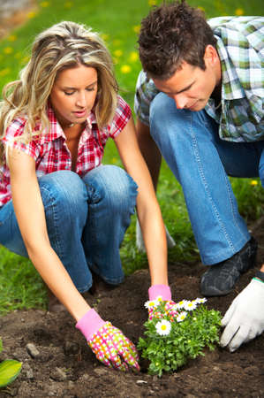 Young love couple smiling planting flowers