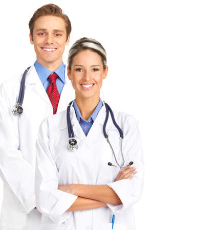 Smiling medical people with stethoscopes. Isolated over white background  Фото со стока