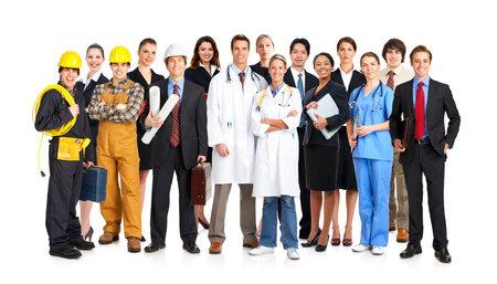 obreros trabajando: Empresario, constructor, enfermero, arquitecto. Aislado sobre fondo blanco