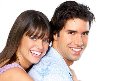 Happy smiling couple in love. Over white background Banque d'images