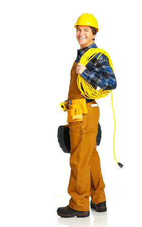 manufactory: Handsome builder in yellow uniform. Isolated over white background  Stock Photo