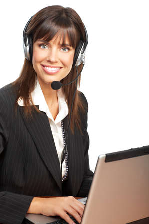 Beautiful  business woman with headset. Over white background Stock Photo - 4278364