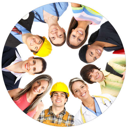 Businessman, business woman, builder, nurse, architect, student. Over white background  photo