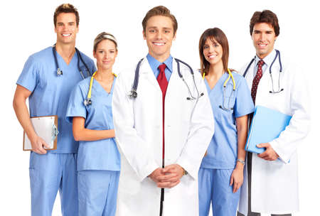 Smiling medical doctors and nurses with stethoscopes. Isolated over white background