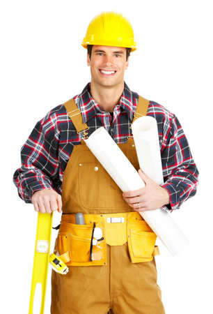 Young handsome builder in yellow uniform. Isolated over white background Stock Photo - 4278405