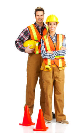 Young handsome builders in yellow uniform. Isolated over white background  Stok Fotoğraf