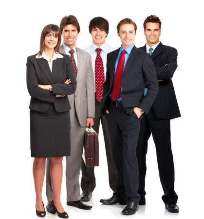 are working: Group of young smiling business people. Over white background