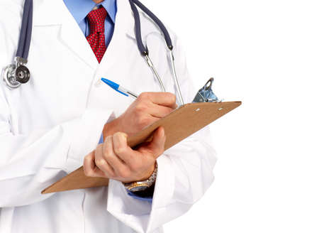 medical doctor with stethoscope writing. Isolated over white background  photo
