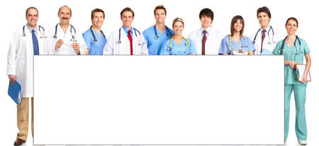 Smiling medical people with stethoscopes. Doctors and nurses over white background 스톡 콘텐츠