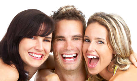 Happy funny people. Isolated over white background Stock Photo - 4312426