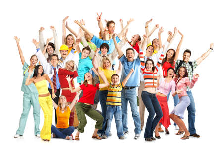Happy funny people. Isolated over white background Stock Photo - 4312451
