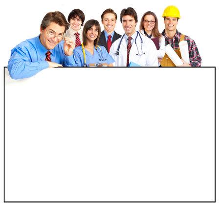 dolgozó: Business people, builder, nurse. Isolated over white background