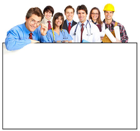 group of workers: Business people, builder, nurse. Isolated over white background