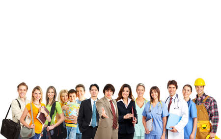 family practitioner: Large group of smiling people. Over white background