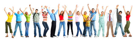 Happy funny people. Isolated over white background Stock Photo - 4347390